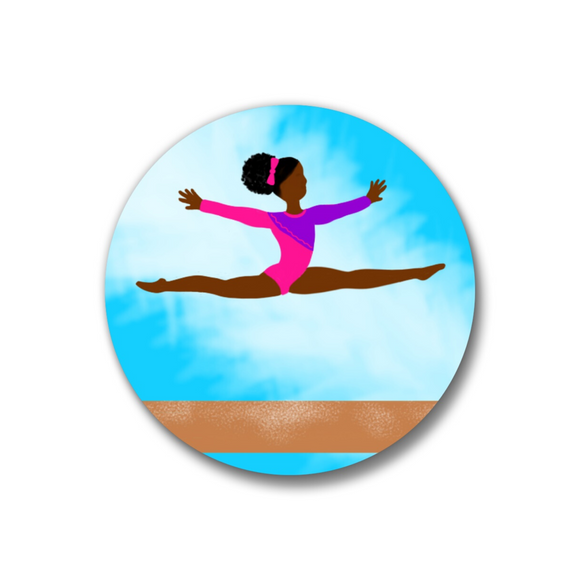 Gymnast Pin-Back Button-Dark Skin 1.25