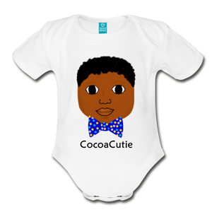 Afro PuffsBow Tie(Bryston) Cocoa Cutie Baby Organic Short Sleeve Bodysuit - white