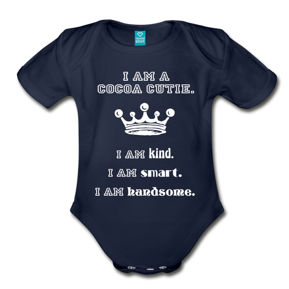 I Am A Cocoa Cutie Baby Organic Short Sleeve Baby Bodysuit(Prince) - dark navy
