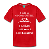 I Am A Cocoa Cutie Toddler Cotton Premium Tee(Princess) - red