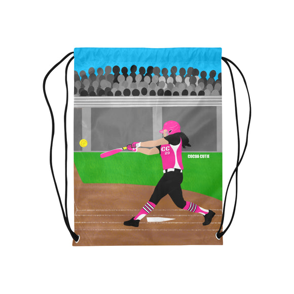 Softball Cocoa Cutie Drawstring Backpacks(3 Skin Tones/2 Colors)-GIRL