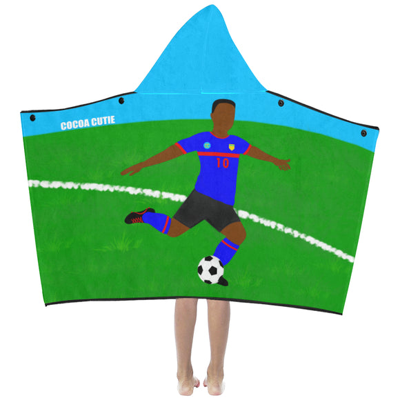 Soccer Cocoa Cutie Kid's Hooded Bath/Beach Towel(Two Skin Tones) Boy