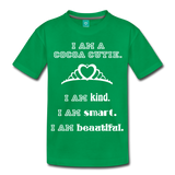 I Am A Cocoa Cutie Kid's Premium Cotton Tee(Princess) - kelly green
