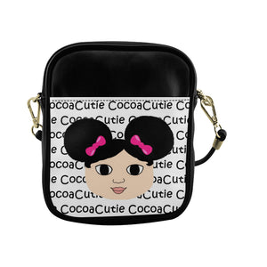 Afro Puffs & Pink Bows Cocoa Cutie Sling Crossbody Purse Faux Leather Mackenzie/Light Skin