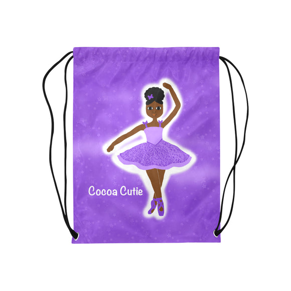 Black Ballerina Dance Drawstring Backpack Bag Purple