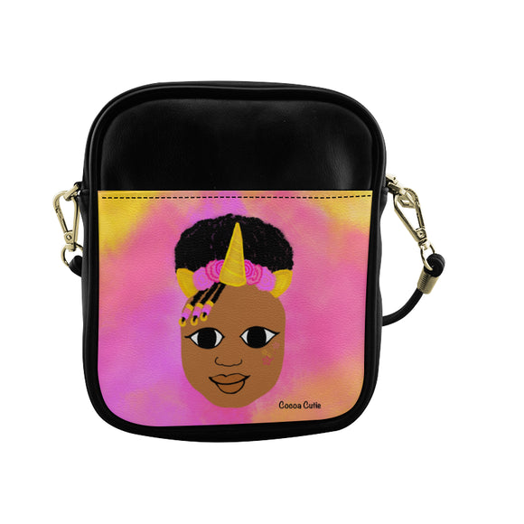 Unicorn Princess(Jordyn) Cocoa Cutie Sling Crossbody Purse-Medium Dark Skin Faux Leather