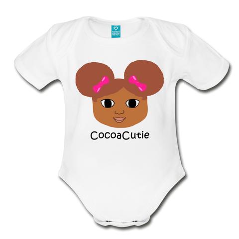 Afro Puffs and Pink Bows(Laila) Cocoa Cutie Baby Organic Short Sleeve Bodysuit - white