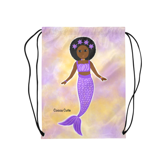 Purple Mermaid Cocoa Cutie Drawstring Backpacks(3 Skintones)