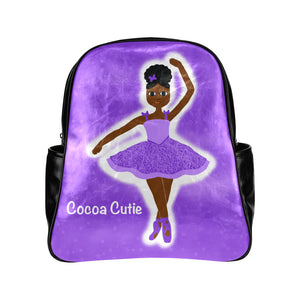 Black Ballerina Dance Competition Ballet Backpack Bag Purple