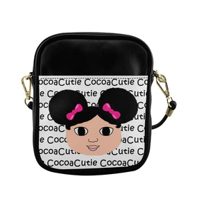 Afro Puffs & Pink Bows Cocoa Cutie Sling Crossbody Purse Faux Leather Kiara/Medium Light Skin