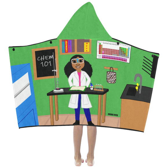 Chemist Cocoa Cutie Kid's Hooded Bath/Beach Towel(Two Skin Tones) GIRL