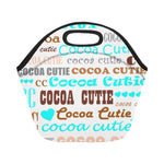 I Heart Cocoa Cutie Lunch Tote Neoprene-Teal