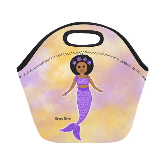 Purple Mermaid Cocoa Cutie Lunch Totes Neoprene(3 Skintones)