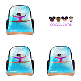Gymnast Cocoa Cutie Faux Leather Junior Backpacks(Three Skin Tones)