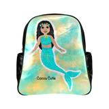 QUICK SHIP-GIRLS BLUE MERMAID FAUX LEATHER BACKPACKS(TWO SKIN TONES)