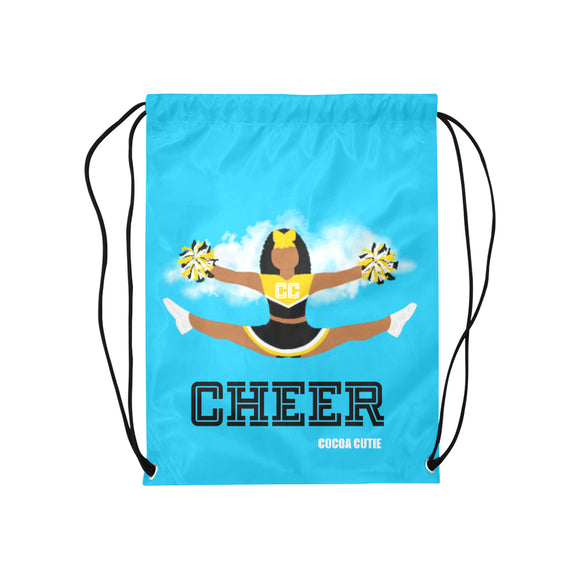 Cheerleader Cocoa Cutie Drawstring Backpacks(6 Colors)-Jordyn/Medium Dark Skin