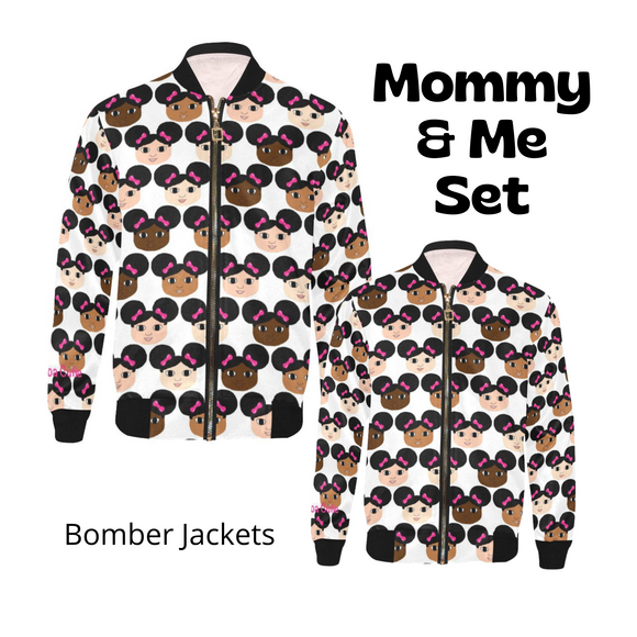 Mommy & Me Afro Puffs Cocoa Cuties Bomber Jacket Set