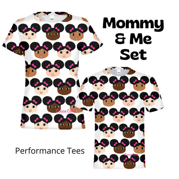 Mommy & Me Afro Puffs Cocoa Cuties Performance Tee Set