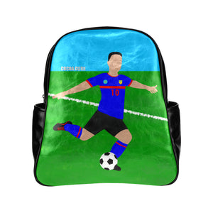 Soccer Cocoa Cutie Primary School Faux Leather Backpacks(2 Skintones)-Boy