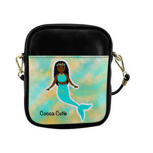 Blue Mermaid(Yanna) Cocoa Cutie Sling Crossbody Purse-Dark Skin Faux Leather