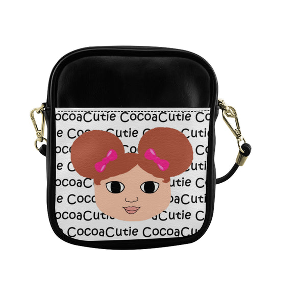 Afro Puffs & Pink Bows Cocoa Cutie Sling Crossbody Purse Faux Leather Chantel/Light Skin Red Hair