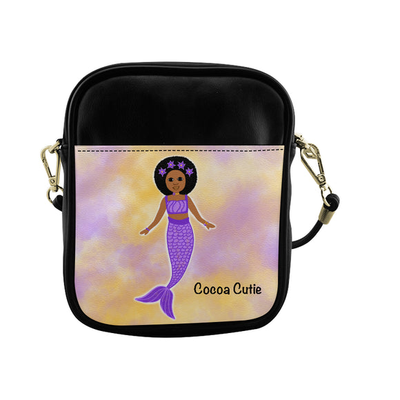 Purple Mermaid Cocoa Cutie Jordyn Sling Purse Faux Leather