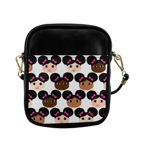 Cocoa Cuties Afro Puffs and Pink Bows  Sling Crossbody Purse-Faux Leather