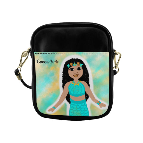 Blue Mermaid(Kiara) Cocoa Cutie Sling Crossbody Purse-Medium Light Skin Faux Leather
