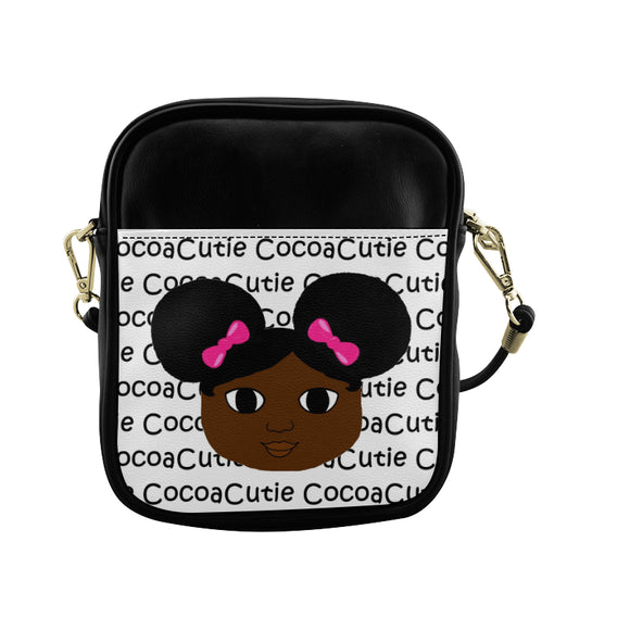 Afro Puffs and Pink Bows(Yanna) Cocoa Cutie Sling Crossbody Purse-Dark Skin Faux Leather