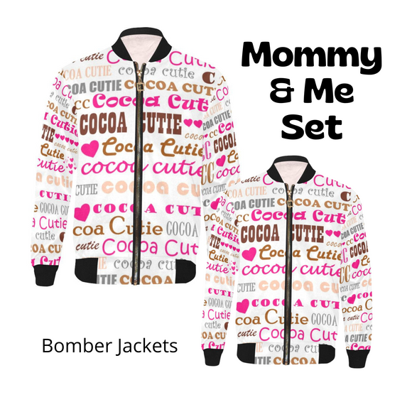 Mommy & Me I Heart Cocoa Cutie PINK Bomber Jacket Set