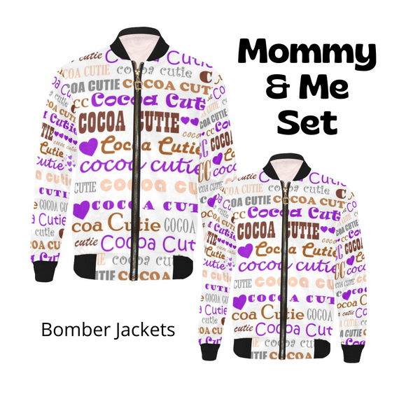 Mommy & Me I Heart Cocoa Cutie PURPLE Bomber Jacket Set