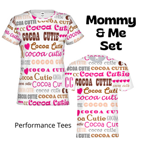 Mommy & Me I Heart Cocoa Cutie PINK Performance Tee Set