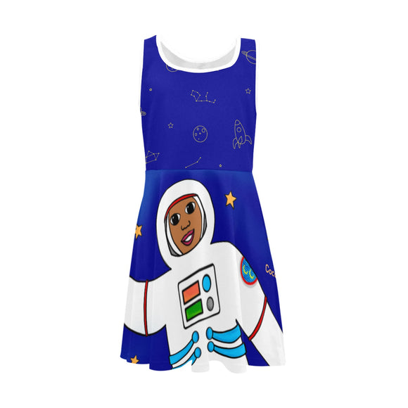 Astronaut Cocoa Cutie Kid's Sundress(Three Skin Tones)