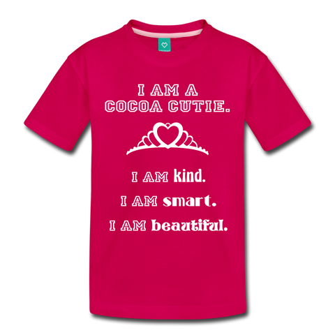 I Am A Cocoa Cutie Toddler Cotton Premium Tee(Princess) - dark pink