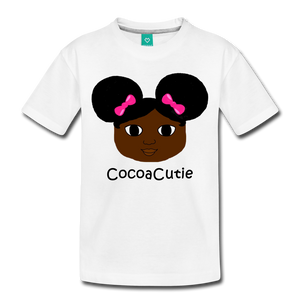Afro Puffs and Pink Bows(Yanna) Cocoa Cutie Toddler Cotton Premium T-Shirt - white