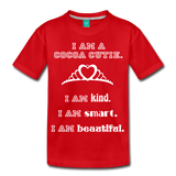 I Am A Cocoa Cutie Kid's Premium Cotton Tee(Princess) - red