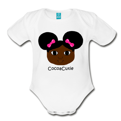 Afro Puffs and Pink Bows(Yanna) Cocoa Cutie Baby Organic Short Sleeve Bodysuit - white
