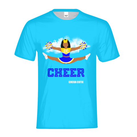 Cheerleader Jordyn/Medium Dark Skin- BLUE Kids Performance Tee