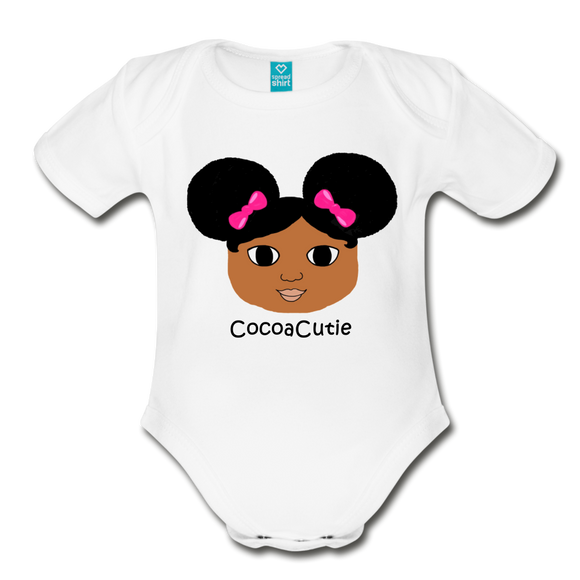 Afro Puffs and Pink Bows(Jordyn) Cocoa Cutie Baby Organic Short Sleeve Bodysuit - white