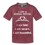 I Am A Cocoa Cutie Kid's Premium Cotton Tee(Princess) - heather burgundy