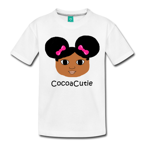 Afro Puffs and Pink Bows(Jordyn) Cocoa Cutie Toddler Cotton Premium T-Shirt - white