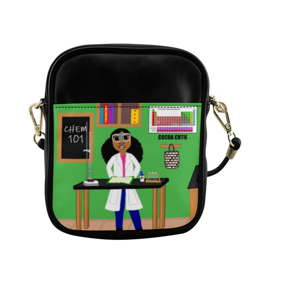 Chemist Jordyn Cocoa Cutie Kid's Green Sling Crossbody Purse-Faux Leather