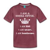 I Am A Cocoa Cutie Toddler Cotton Premium T-Shirt(Prince) - heather burgundy