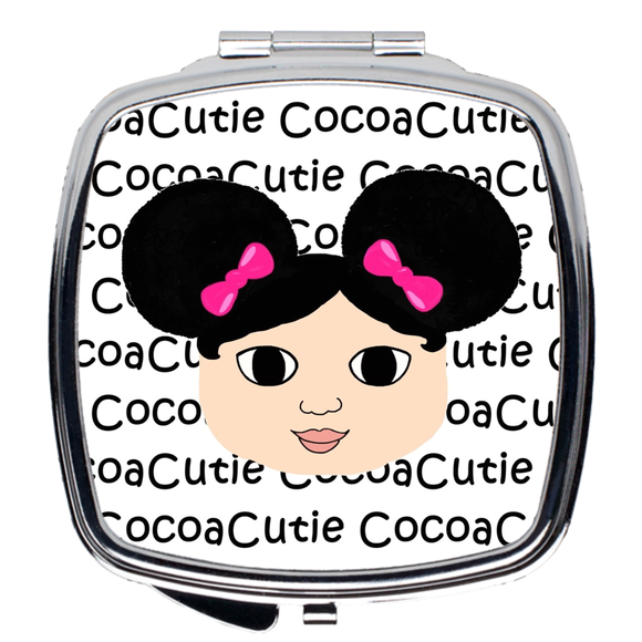 Afro Puffs and Pink Bows Cocoa Cutie Compact Mirror(Mackenzie/Light Skin)