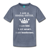 I Am A Cocoa Cutie Toddler Cotton Premium T-Shirt(Prince) - heather blue