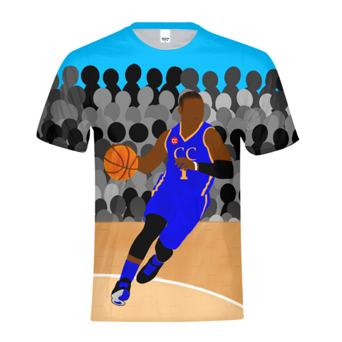 Basketball Jayden Cocoa Cutie Kids Performance Tee(Dark Skin)-Boy