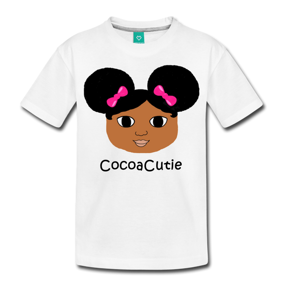 Afro Puffs and Pink Bows(Jordyn) Cocoa Cutie Kid's Cotton Premium T-Shirt - white