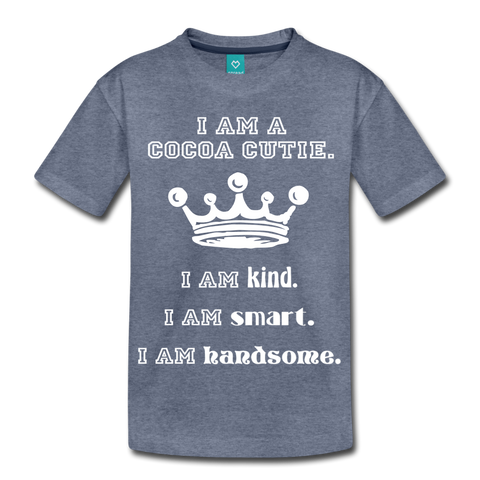 I Am A Cocoa Cutie Kid's Cotton Premium Tee(Prince) - heather blue