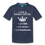 I Am A Cocoa Cutie Toddler Cotton Premium T-Shirt(Prince) - navy