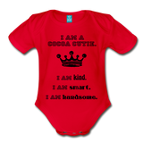 I Am A Cocoa Cutie Baby Organic Short Sleeve Bodysuit(Prince) - red